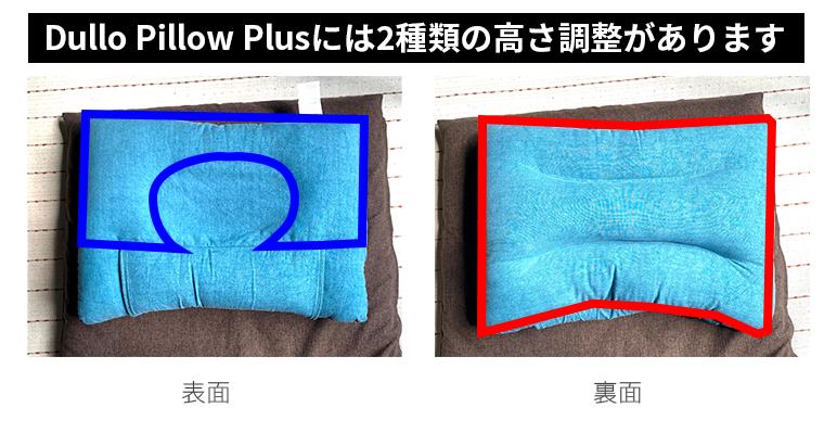 Dullo Pillow Plusには表のアーチ状の範囲と、裏の全面の2種類の高さを調整することができます。