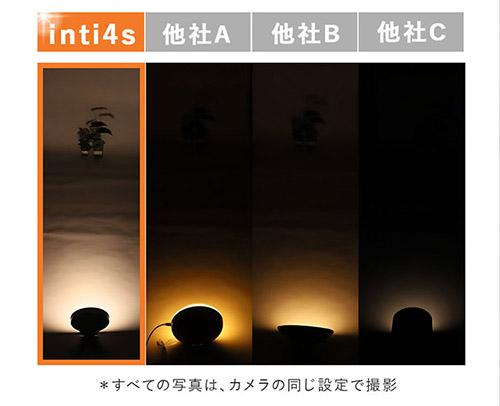 inti4sと他社製品を比べても明るさが圧倒的なのがわかります。