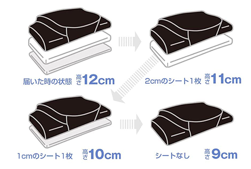 YOKONE3は9~12cmの1cm単位で4段階の高さ調整が可能です。