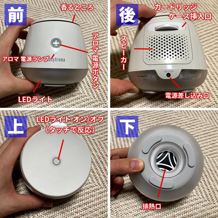 EasyAroma(イージーアロマ)には、アロマ電源ボタン、アロマ電源ランプ、LEDのライト、カードリッジ差し込み口、排熱口、LED点灯センサー、スピーカーが搭載されています。